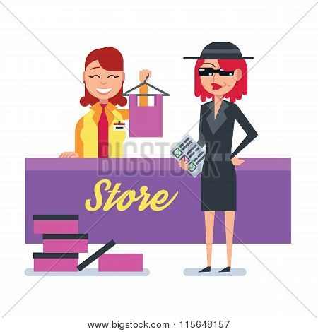 Mystery shopper woman in spy coat checks clothing store