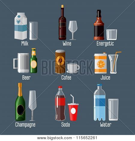 Set Of Different Drinks In Ware