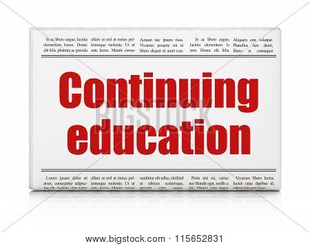 Education concept: newspaper headline Continuing Education