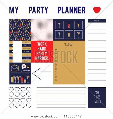 Planner page for party with stickers,printable files. Vector printable boxes,half boxes,motivation q