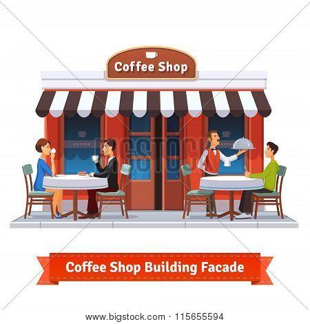 Coffee shop building facade with signboard