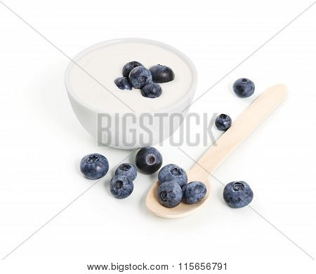 White Yogurt And Blueberries