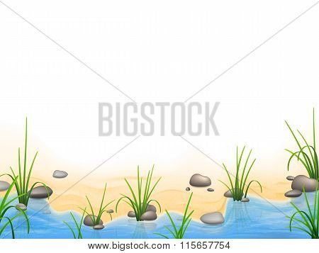 Grass And Pebbles On A River Bank