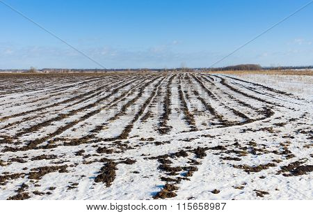 Agricultural landscape at winter season