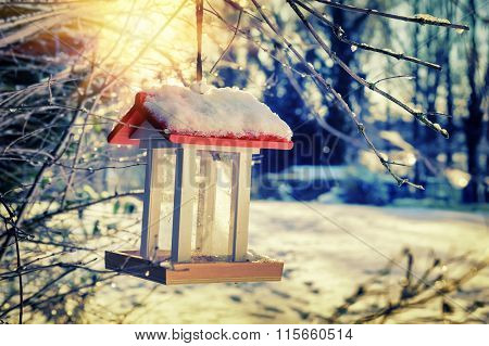 Snow Covered Bird Feeder At Sunrise. Nature Background