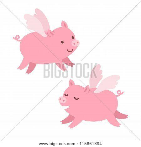 Cute Flying Pigs