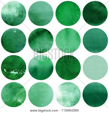 Watercolor circles collection  in green colors. Watercolor stains set isolated on white background. Watercolour palette. Seamless retro geometric pattern, wrapping paper.