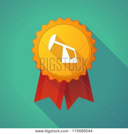 Long Shadow Badge Icon With A Horsehead Pump