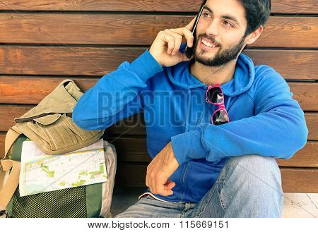 Man With Mobile Phone - Attractive Young Guy Talking at Telephone -