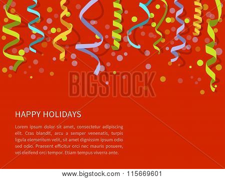 Red background with colorful streamers