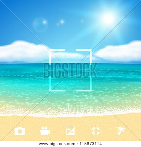 Seascape with Beach. Vector illustration, eps10.