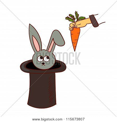 Cartoon rabbit in the hat trick and a hand with a carrot.