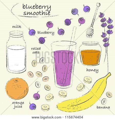 Green Smoothie Glass And Ingredients Recipe Line Art Sketch