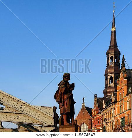 Statue Of Columbus Near Kornhausbrücke, Hamburg, Germany