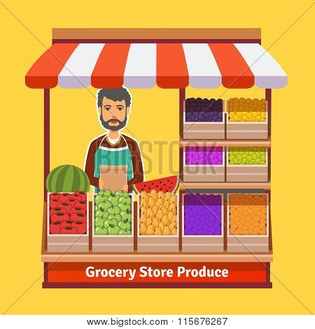 Produce shop keeper. Fruit and vegetables retail