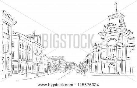 City Streets And Historic Buildings