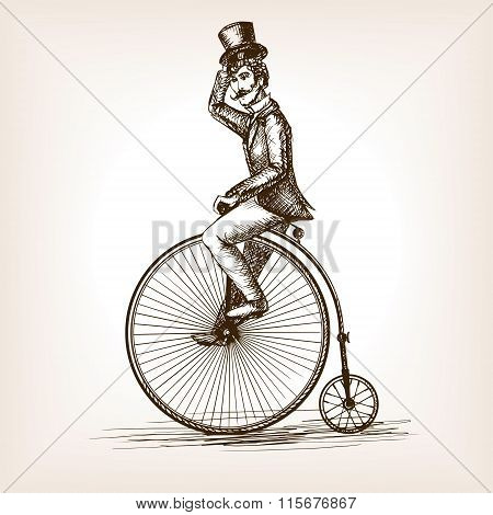 Man on retro vintage old bicycle sketch vector