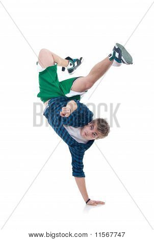 Bboy Standing On One Hand And Pointing