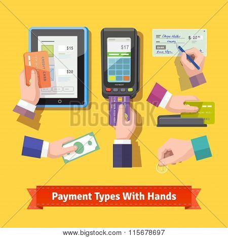 Flat icon set of payment types