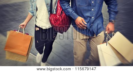 Shopping Couple Capitalism Enjoying Romance Spending Concept