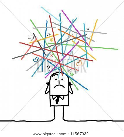 cartoon man lost in an overloaded networks