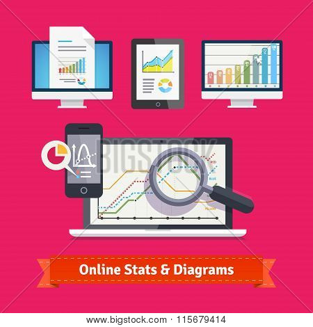 Statistics schemes and diagrams on mobile devices