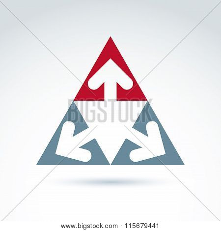 Vector abstract emblem with three multidirectional arrows placed in isosceles triangles – up left right. Conceptual corporate symbol pyramid icon. poster