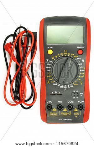 Digital Multimeter With Probe Isolated On The White Background