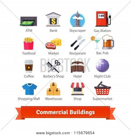 Commercial buildings colourful flat icon set