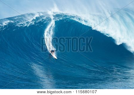 MAUI, HI - JANUARY 16 2016: Professional surfer Shaun Stodder rides a giant wave at the legendary big wave surf break known as