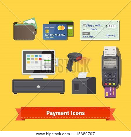 Payment flat icon set. All for business payments