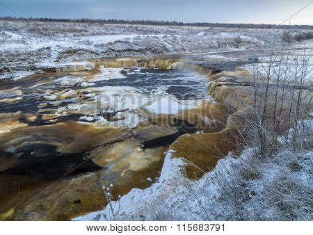 Waterfall In Winter Day