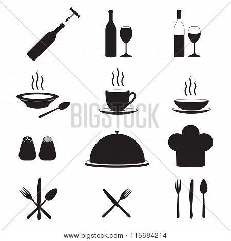 Kitchen tool icon set. Vector illustration.