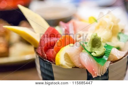 Chirashi - Raw Fish Over Rice Bowl