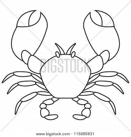 Crab outline icon. Vector illustration.