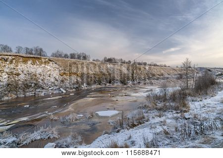 Tosna River In Winter Day