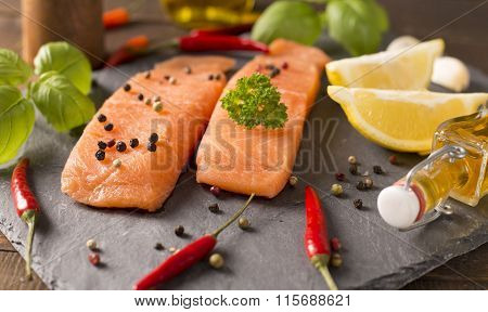 Tasty Salmon On Stone