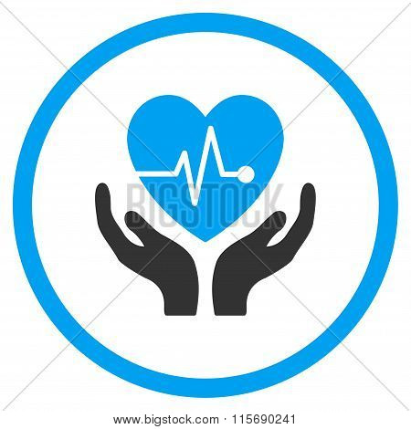 Cardiology Care vector icon. Style is bicolor flat circled symbol, blue and gray colors, rounded angles, white background. poster