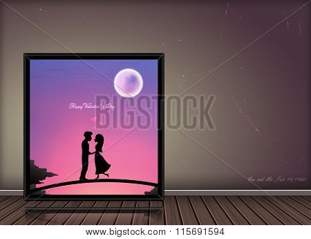 Happy Valentine Day Love Story  Concept  In Photo Fram On Vintage Background