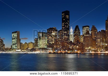 Manhattah Skyline At Night.