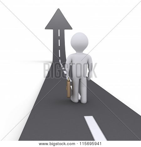 Businessman And Street With Arrow