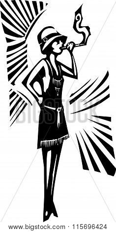 Woodcut syle image of a woman in a flapper dress smoking