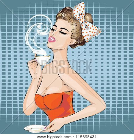 Pop Art Woman Portrait With Morning Cup Of Tea. Pin-up Girl