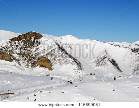 Snowy Winter Mountains At Nice Sun Morning