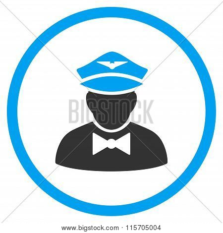 Airline Steward Circled Icon