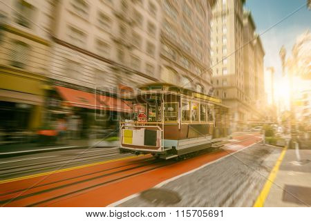 Famous Cable Car near Union Square in San Francisco, California.