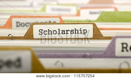 File Folder Labeled as Scholarship.