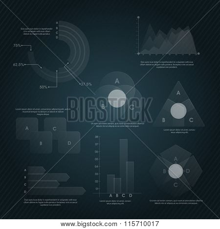 Set of various Business Infographic elements including statistical bar, graphs and chart for professional report and presentation.