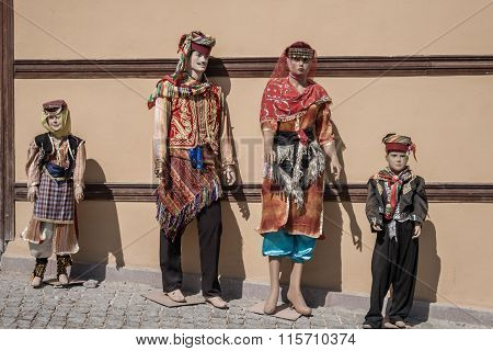 Mannequins Dressed In Colorful Oriental Traditional Turkish Clothes