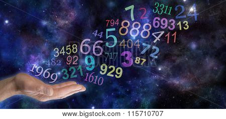 Male hand palm up with a group   of random multicolored transparent numbers floating up and away on a wide deep space background with copy space poster